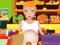 Pregnant woman in supermarket